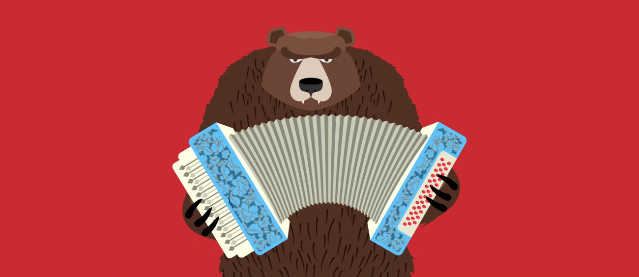 Illustration d'un ours à l'expression patibulaire en train de jouer de l'accordéon. Représentation imagée du gypsy punk.