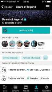Bandsintown - Outil de recherche de concerts - Fiche d'un artiste suivi