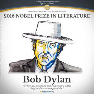 Portrait de Bob Dylan, prix Nobel de littérature 2016 - Crédit: Illustration: Niklas Elmehed. Nobel Prize Medal: © ® The Nobel Foundation. Photo: Lovisa Engblom.
