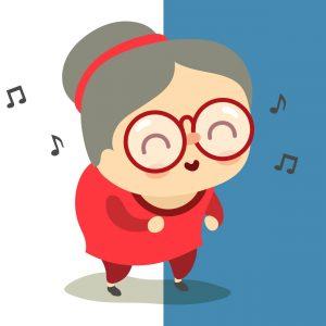 Illustration d'une femme âgée à grosse lunette et chignon qui danse. Représentation d'une maman d'âge mûr.