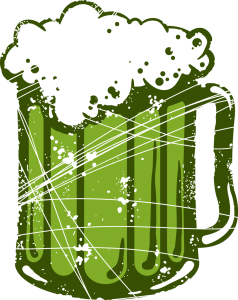 Fête de la Saint-Patrick, le saint-patron de l'Irlande. Chope de bière verte