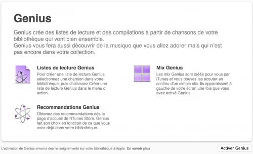 Capture d'écran montrant comment activer Genius dans iTunes (macOS 12.9.5.5).