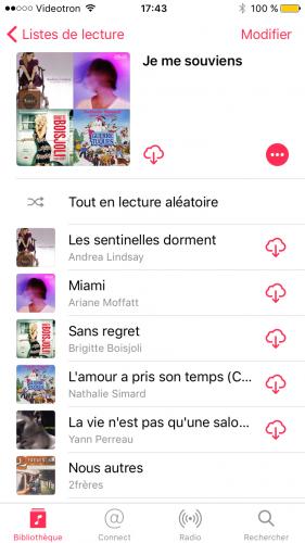 Capture d'écran montrant une playlist créée manuellement dans l'application Musique (iOS).