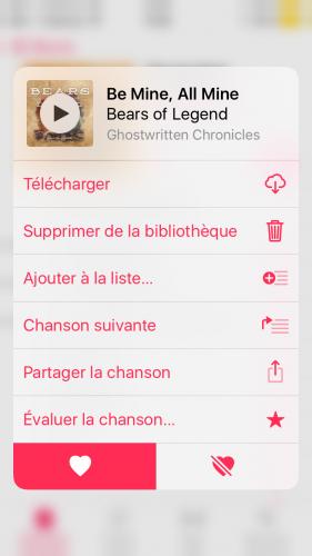 Capture d'écran montrant comment ajouter rapidement un morceau à une playlist depuis la bibliothèque dans l'application Musique (iOS).