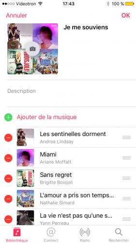 Capture d'écran montrant comment modifier une playlist créée manuellement dans l'application Musique (iOS)..