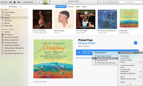 Capture d'écran montrant comment ajouter rapidement un morceau à une playlist depuis la bibliothèque iTunes.