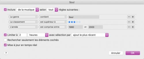 Capture d'écran montrant comment configurer une liste de lecture intelligente dans iTunes.