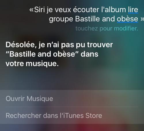 Comment créer une playlist de musique avec Siri? Exemple 3 : Capture d'écran d'une demande musicale adressée à Siri, incluant la réponse de l'Assistant intelligent d'Apple.