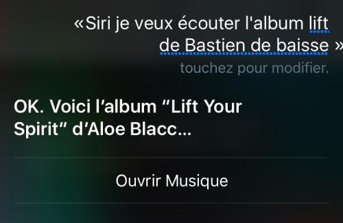 Comment créer une playlist de musique avec Siri? Exemple 2 : Capture d'écran d'une demande musicale adressée à Siri, incluant la réponse de l'Assistant intelligent d'Apple.