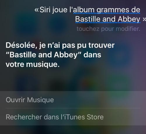 Comment créer une playlist de musique avec Siri? Exemple 1 : Capture d'écran d'une demande musicale adressée à Siri, incluant la réponse de l'Assistant intelligent d'Apple.