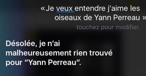 Capture d'écran d'une demande musicale adressée à Siri, incluant la réponse obtenue.