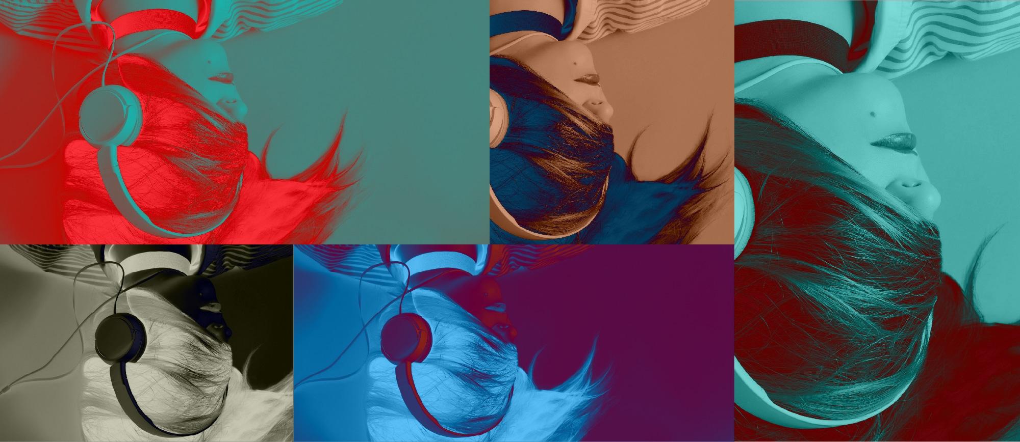 Surimpression de 5 femmes portant des écouteurs, le visage recouvert par leurs chevelures. Image utilisée pour représenter les modes de création de playlists dans iTunes
