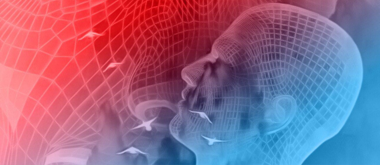 Illustration du concept d'intelligence artificielle, sous la forme d'une silhouette évoluant dans un décor matriciel, avec des oiseaux en arrière-plan.