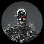 Illustration d'un robot de type Terminator sur fond gris et volutes de fumée.