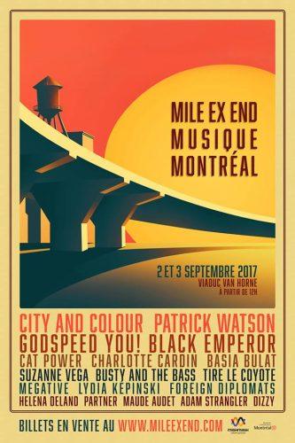 Illustration du viaduc Van Horne de Montréal au coucher du soleil. Affiche publicitaire, incluant la programmation artistique, du Mile Ex End Musique Montréal.