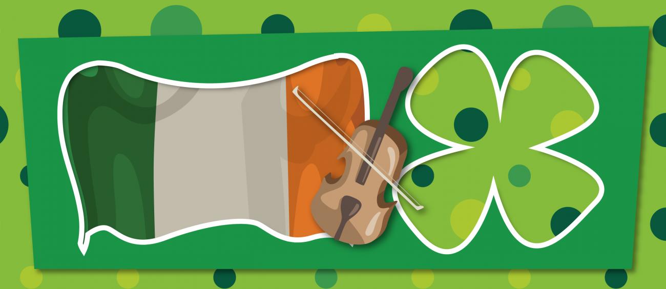 Représentation de la musique traditionnelle irlandaise sous la forme d'un drapeau irlandais stylisé, accompagné d'un violon et d'un trèfle à 4 feuilles.