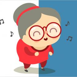 Illustration sur fond bicolore d'une femme âgée à grosses lunettes et chignon qui danse. Représentation d'une maman d'âge mûr.