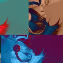 Surimpression de 5 femmes portant des écouteurs, le visage recouvert par leurs chevelures.