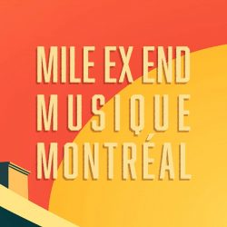 Illustration du viaduc Van Horne de Montréal au coucher du soleil. Affiche du Mile Ex End Musique Montréal.