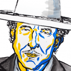 Portrait de Bob Dylan, prix Nobel de littérature 2016 (en vedette) - Crédit: Illustration: Niklas Elmehed. Nobel Prize Medal: © ® The Nobel Foundation. Photo: Lovisa Engblom.