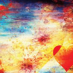 La photographie représente un background abstrait à l'intérieur duquel ont peut voir un coeur et des notes de musique. Représentation abstraite de la Saint-Valentin et de la musique romantique.